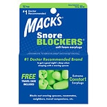 Mack's SnoreBlockers Soft Foam Earplugs, 12 Pairs