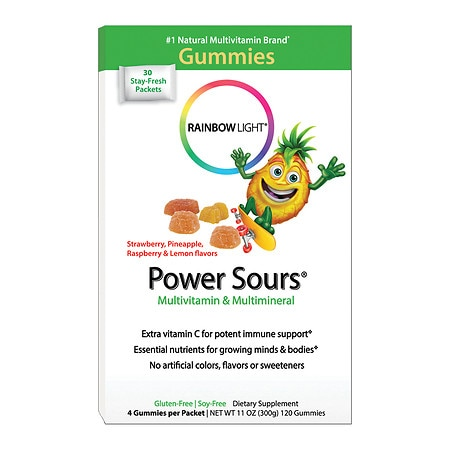 Rainbow Light Power Sours Gummies, Multivitamin & Multimineral Single-Serve Packets Sour Fruit, 30 pk
