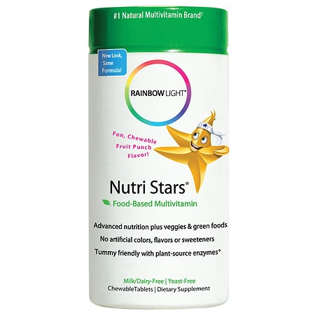 Rainbow Light Nutri Stars Food-Based Multivitamin, Chewable Tablets Fruit Punch