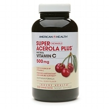 American Health Chewable Super Acerola Plus, Natural Vitamin C 500mg, Chewable Wafer
