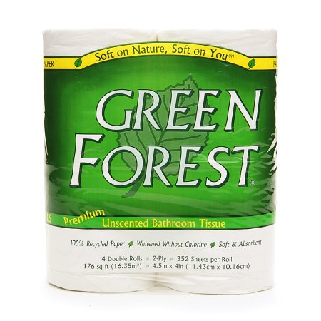 Green Forest Double Roll Premium Bathroom Tissue Unscented,4 pk