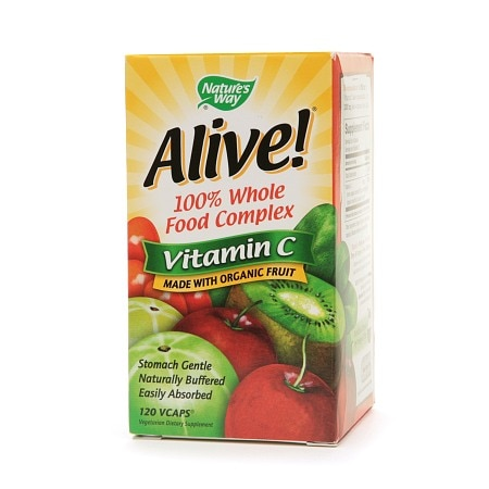 Nature's Way Alive! 100% Whole Food Complex, Vitamin C 500mg, VCaps - 120 ea