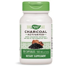 Charcoal Activated 280 mg Dietary Supplement Capsules
