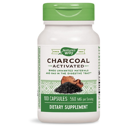 Nature's Way Charcoal Activated 280 mg Dietary Supplement Capsules