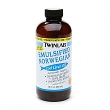 Twinlab Emulsified Norwegian Cod Liver Oil Dietary Supplement Liquid Orange Flavor