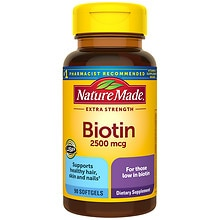 Nature Made Biotin 2500 mcg Dietary Supplement Liquid Softgels