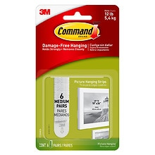 Command Strips Damage-Free Hanging:  Picture Hanging Strips 6 medium
