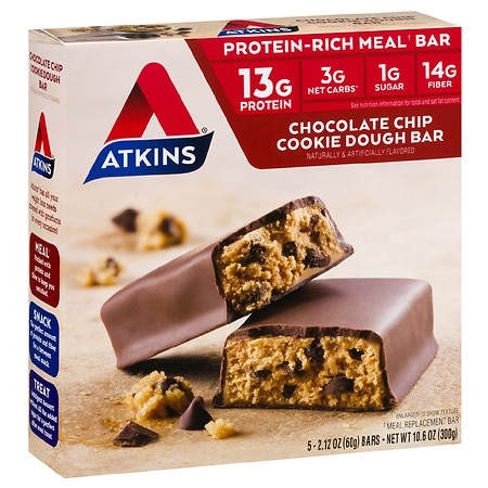 Atkins Advantage Meal Bars Chocolate Chip Cookie Dough,5 pk