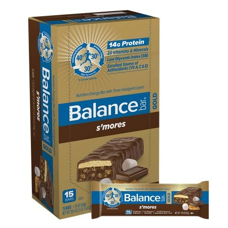 Balance Bar GOLD Nutrition Bar with Three Indulgent Layers S'Mores