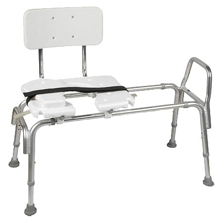 Duro-Med Bariatric Heavy-Duty Sliding Transfer Bench with Cut Out Seat - 400 lb Capacity