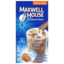 Iced Latte Cafe-Style Beverage Mix, Single Serve Packets Hazelnut