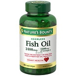 Nature's Bounty Odorless Fish Oil, Double Strength, Softgels