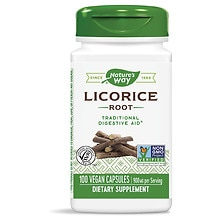 Nature's Way Licorice Root 450 mg Dietary Supplement Capsules
