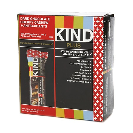 KIND Plus Nutrition Bars Dark Chocolate Cherry Cashew + Antioxidants, 12 pk