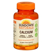 Sundown Naturals Calcium 1200 mg Per Serving + Vitamin D3 Dietary Supplement Softgels