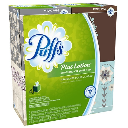 Puffs Plus Lotion Facial Tissues, Cube 4 pk