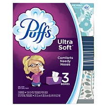 Ultra Soft & Strong Facial Tissues3 boxes (124 count each)