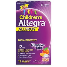 Allegra Children's Allergy Orally Disintegrating 30 mg Tablets Orange Cream Orange Cream Flavored