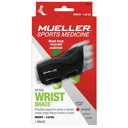 Mueller Green Fitted Wrist Brace, Maximum Support, Right