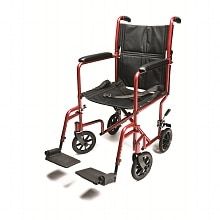 Everest & Jennings Aluminum Transport Chair 19 inch Red 19 in Seat Red