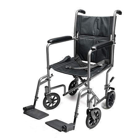 Everest & Jennings Aluminum Transport Chair 19 inch Silver
