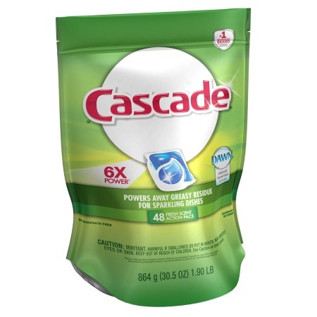 Cascade 2-in-1 ActionPacs with Dawn Dishwasher Detergent Fresh