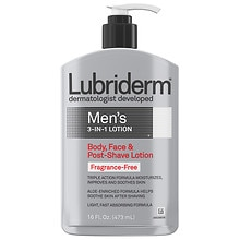 Lubriderm Men's 3-in-1 Body, Face & Post-Shave Lotion Fragrance Free Fragrance Free
