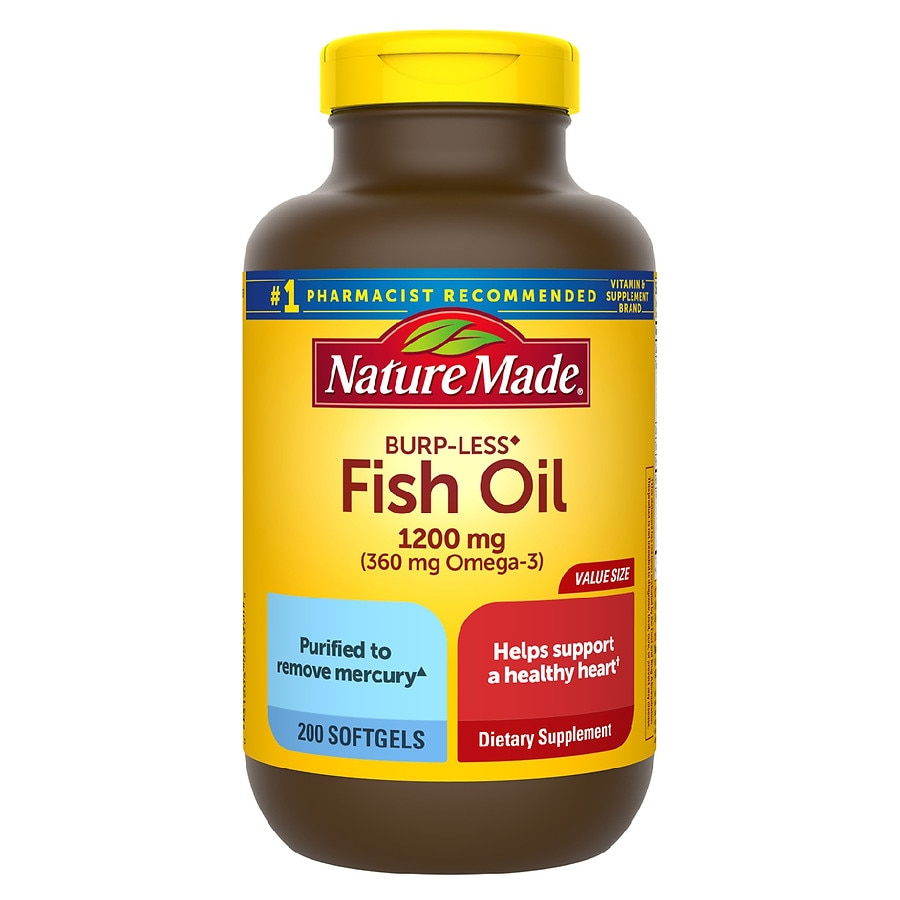 Nature made fish oil 1200 mg dietary supplement liquid for How much fish oil a day