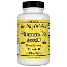 Healthy Origins Vitamin D3, 5000 IU, Softgels