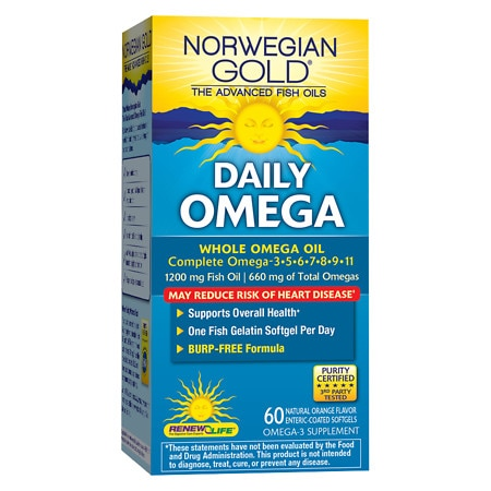 ReNew Life Norwegian Gold Daily Omega, Fish Gels Orange