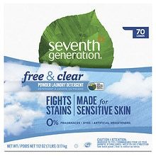 Seventh Generation Natural Laundry Detergent Powder, 70 Loads Free & Clear