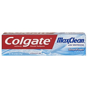 Colgate MaxClean SmartFoam with Whitening  Anticavity FluorideToothpaste, Effervescent Mint