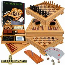 Trademark Games Deluxe 7-in-1 Game Set - Chess - Backgammon etc