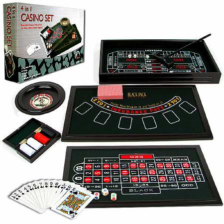 Trademark Poker 4 in 1 Casino Game Table Roulette, Craps, Poker, BlackJack - 1 ea