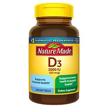 Nature Made Vitamin D3 2000 IU Dietary  Supplement Liquid Softgel