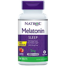 Melatonin 5 mg Dietary Supplement Tablets Strawberry