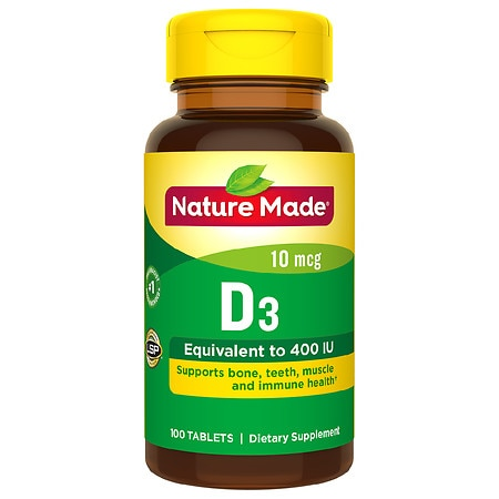 Nature Made Vitamin D3 400 IU Dietary Supplement Tablets