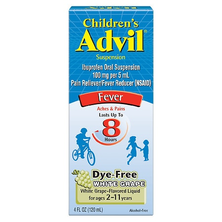 Children's Advil Ibuprofen Fever Reducer/Pain Reliever Oral Suspension, Dye-Free White Grape