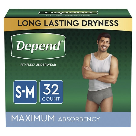 Depend Incontinence Underwear for Men, Maximum Absorbency Small/Medium Gray