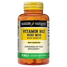 Mason Natural Vitamin B-12, 1000mcg, Sublingual Tablets