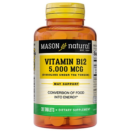 Mason Natural Vitamin B-12, 5000mcg, Sublingual Tablets