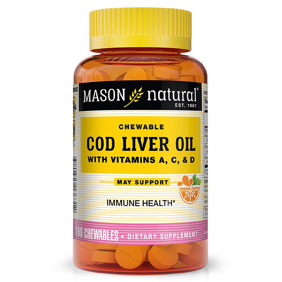 Mason natural cod liver oil chewable tablets orange for Is cod liver oil the same as fish oil