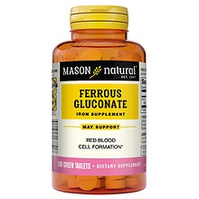 Mason Natural Ferrous Gluconate, Green Tablets