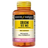 Mason Natural Sugar Free Ferrous Sulfate, Green Tablets