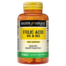 Mason Natural Folic Acid B-6 & B12, Tablets