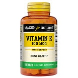 Mason Natural Vitamin K, 100mcg, Tablets