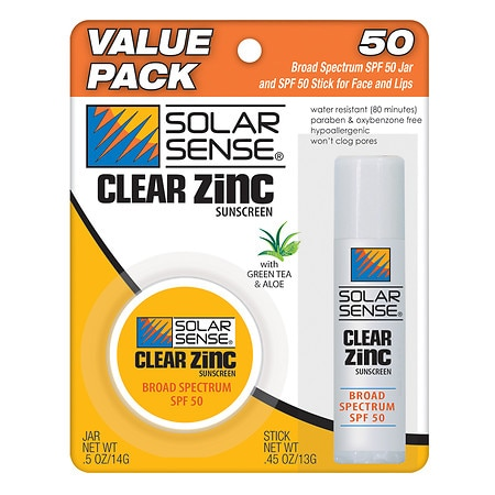 Solar Sense Clear Zinc Face Jar & Stick Sunscreen SPF 50, Value Pack Green Tea & Aloe
