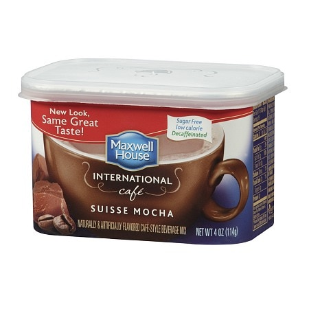 Maxwell House International Cafe Style Beverage Mix, Decaffeinated & Sugar Free Suisse Mocha