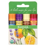 Badger Classic Lip Balm Sticks Tangerine, Lavender & Orange, Vanilla & Grapefruit