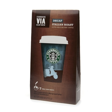 Starbucks Via Instant Coffee Packets, Decaf Italian Roast